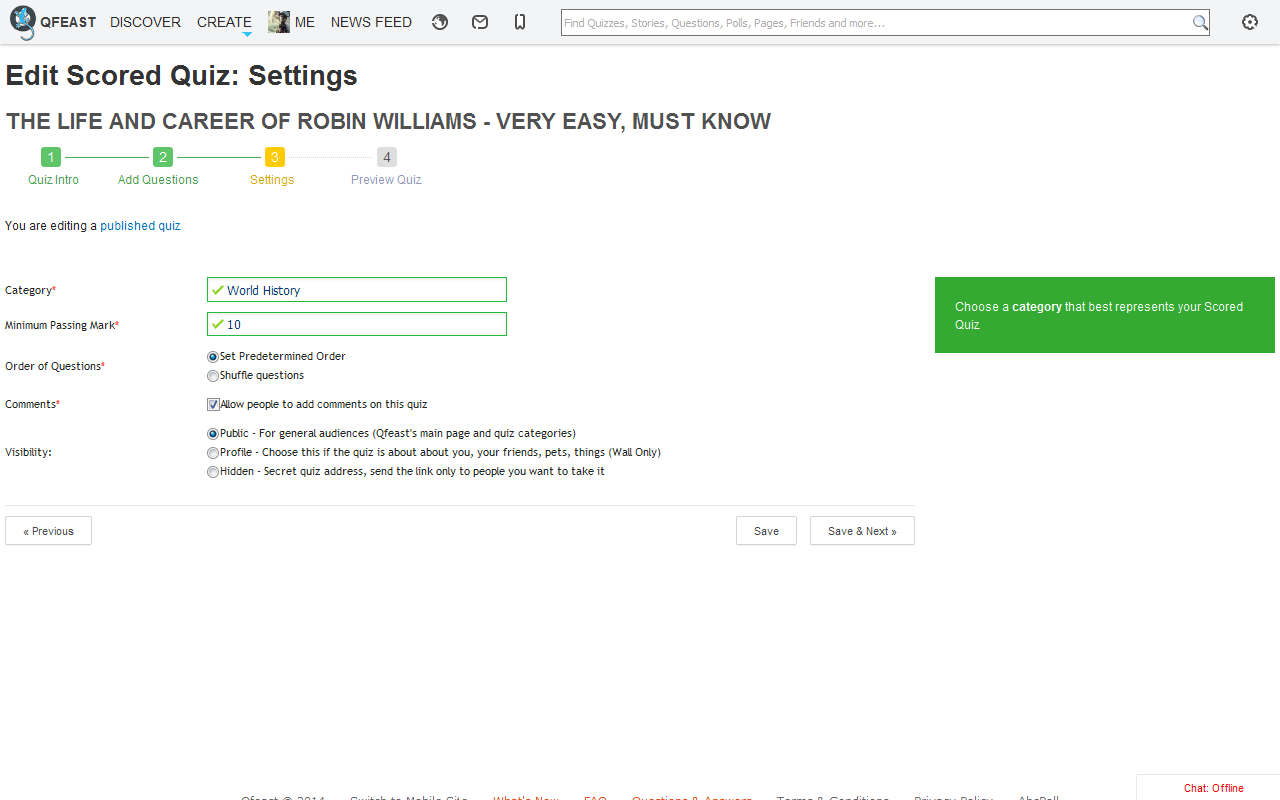Edit Scored Quiz Settings: Category, Toggle Comments, Change Quiz Visibility