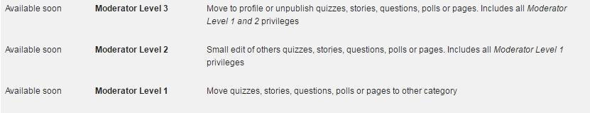Which moderator levels should be available for users ? (gain using the reputation / privileges system)