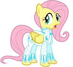 Fluttershy's white, jeweled outfit look