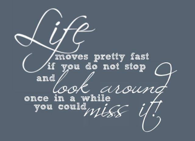 Life moves pretty fast, if you don`t stop and look around once and a while you might miss it