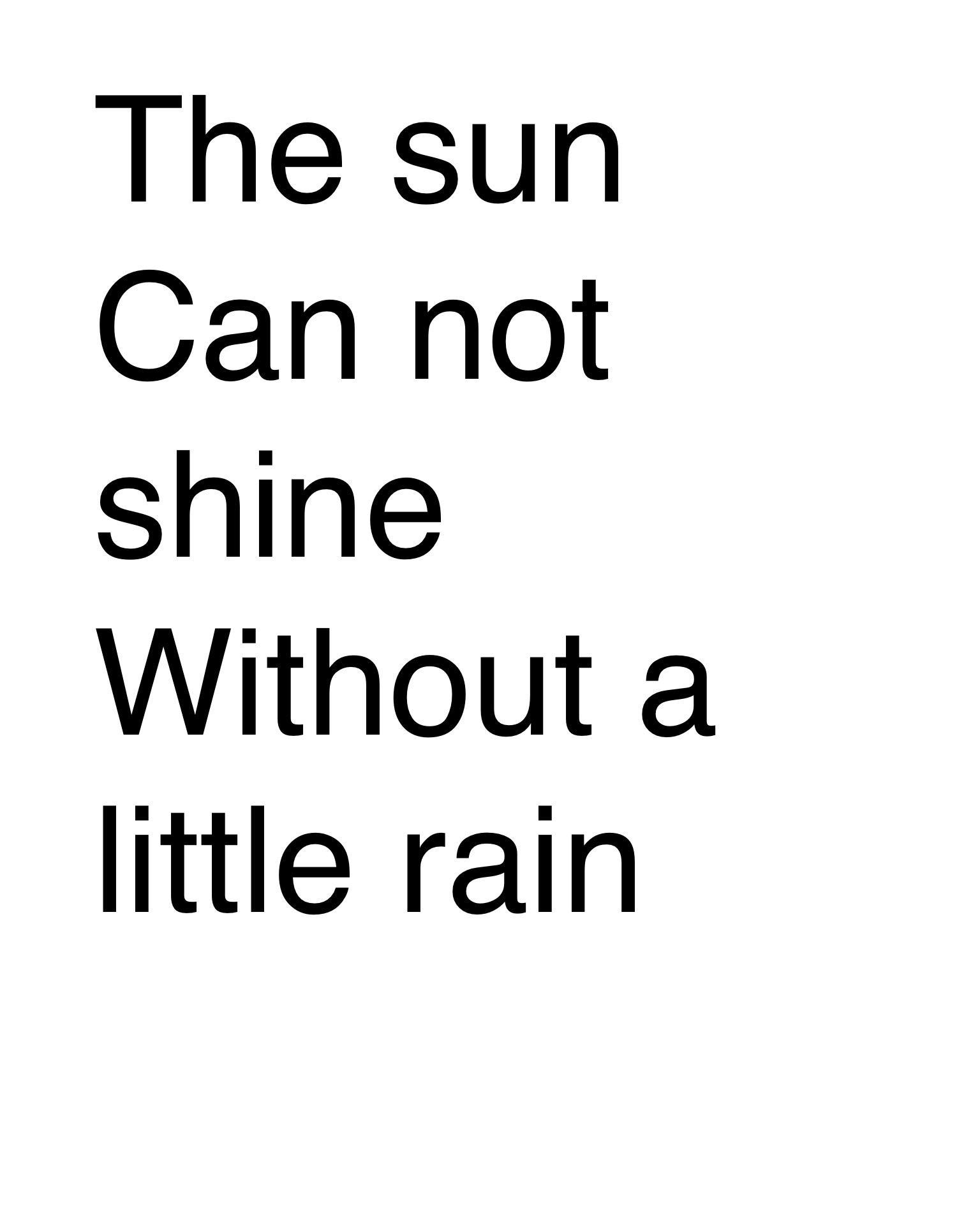 The sun can not shine without a little rain