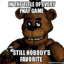 In the title of every FNaF game. Still nobody's favourite.