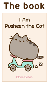 "pusheen the cat (I know the picture has ""the book"" on it, but oh well)"