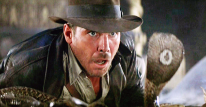 Indiana Jones (first appearing in Raiders of the Lost Ark. The franchise was rebooted many times always starting Harrison Ford)
