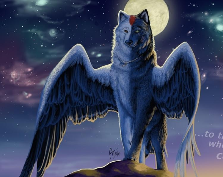 a majestic wolf with wings and can take over the minds of anything