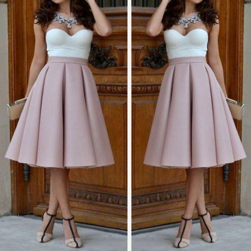 Pink, plain, pleated skirt