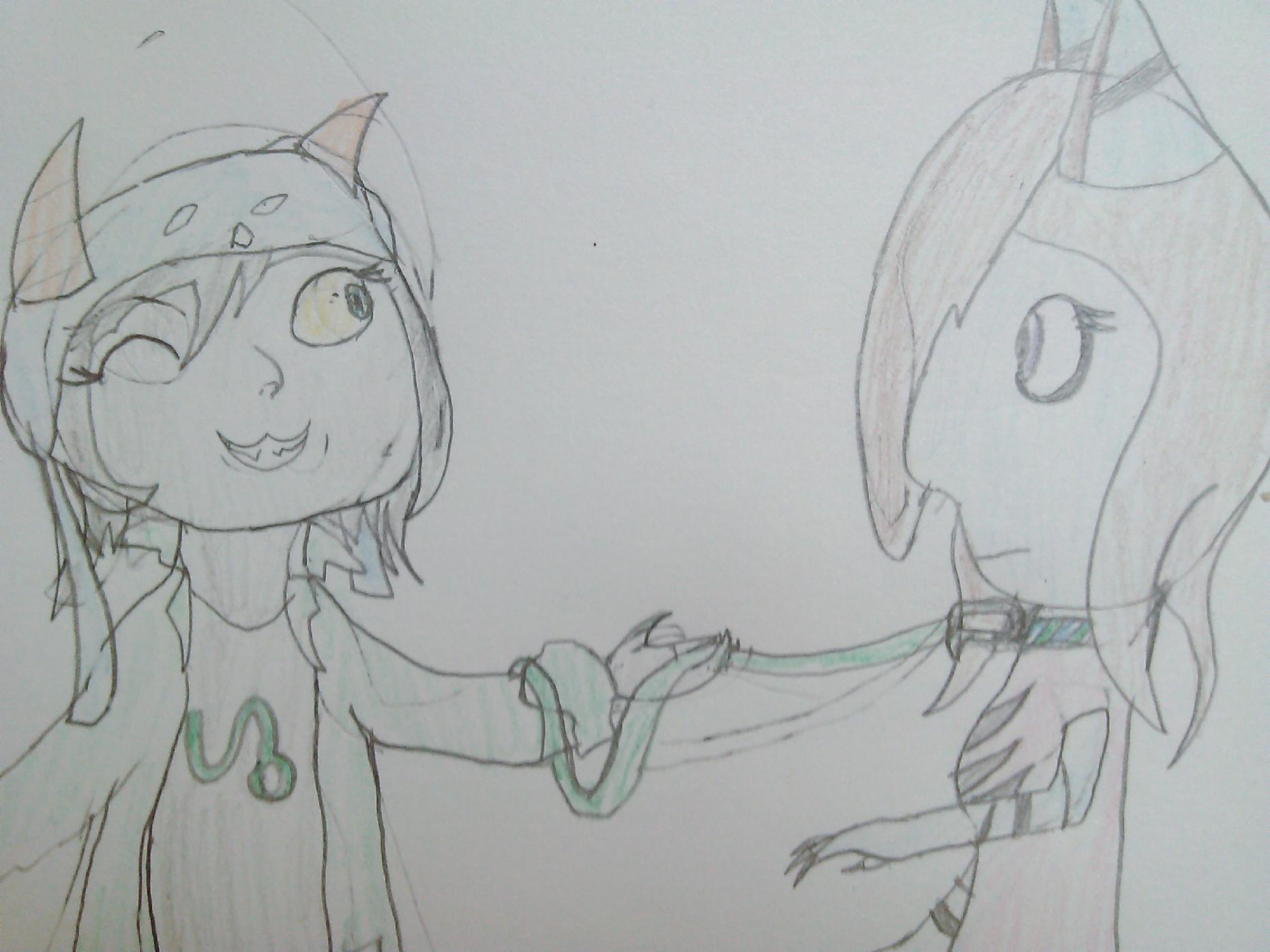 Nepeta holding Lauray by a leash