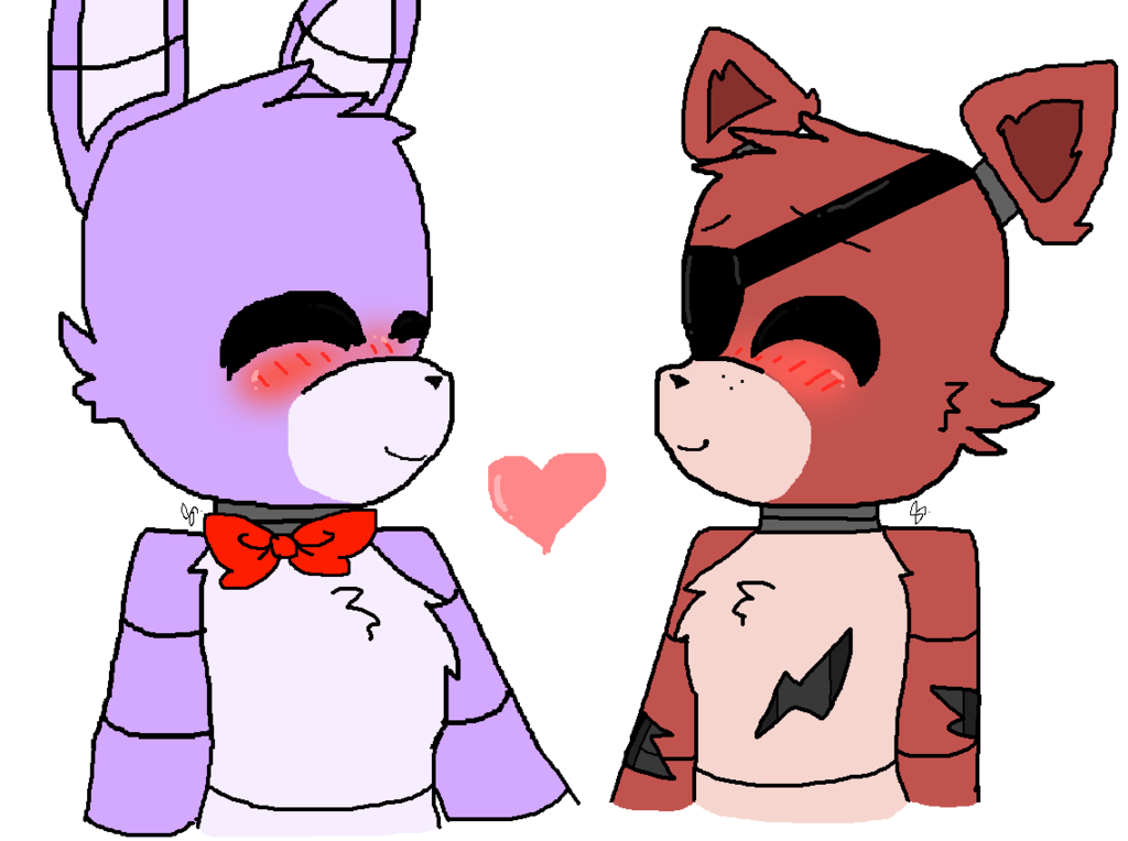 Bonnie x Foxy (ok last one, i did all animatronics x eachother)