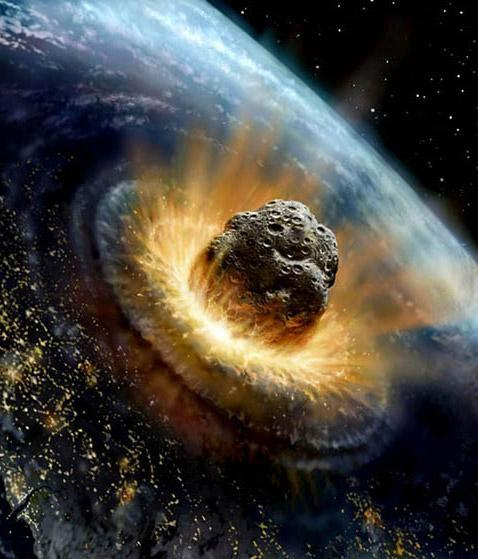 Large meteorite colliding with earth
