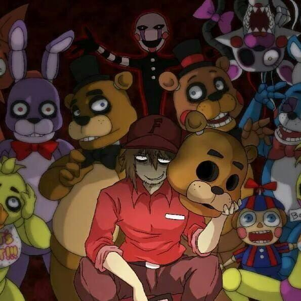 FNAF (Dark Red, Brown, Purple, Gold, and Yellow.)