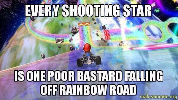 getting pushed off of Rainbow Road