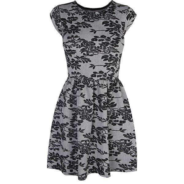 Grey Floral Jacquard Skater Dress - Polyvore