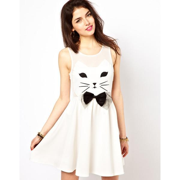 Reverse Skater Dress With Cat Face - Polyvore