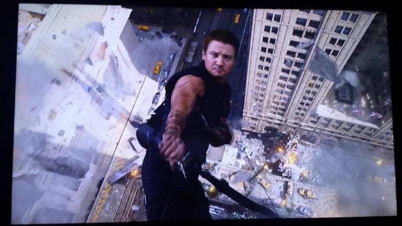 The Avengers hawkeye jumps scene