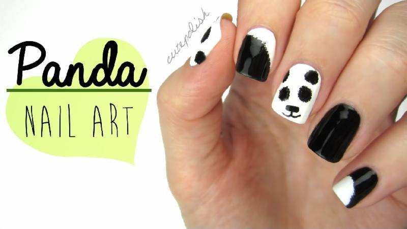 Nail Art: Fuzzy Panda Nails!