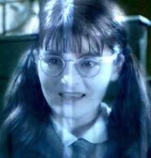 You go to the girl's bathroom and see moaning Myrtle. you've seen her before. what do you do?