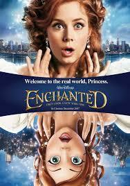 "In ""Enchanted"", from which cartoon town to which big city did Gisele travel ?"