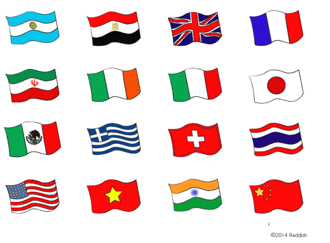 Be honest: How many of these flags can you identify? (note: the two in the second row may look the same, but the first one to the left is green, white and orange and the second one is green, white, and red)