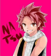 What does Natsu think his hair color is?
