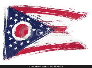 How many stars and stripes are on the Ohio flag?