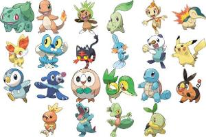 what is the two unevolved starter pokemon with 2 types