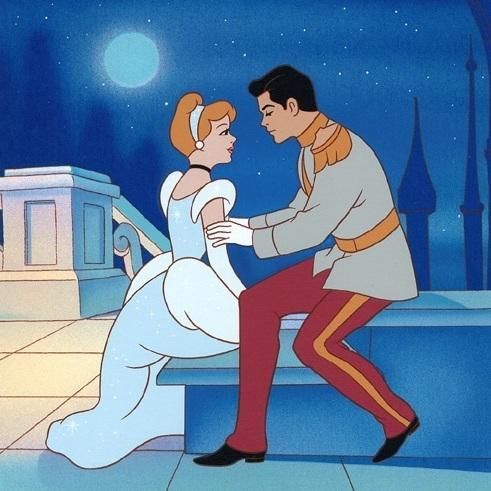 Around how many sentences do we HEAR prince charming say before Cinderella runs off?