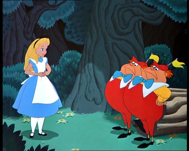 What games did Tweedledee and Tweedledum offer to play with Alice?