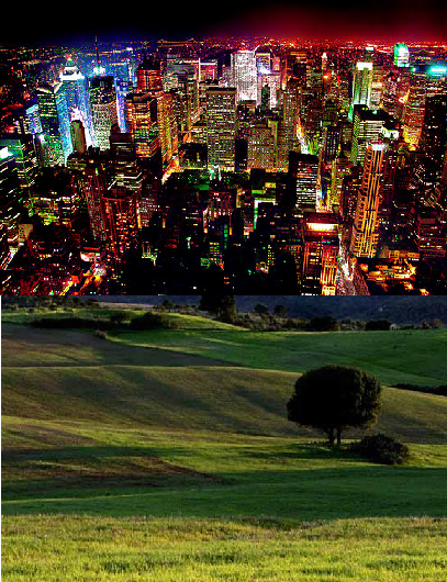 At night would you rather see dark valleys and green hills or pretty city lights.