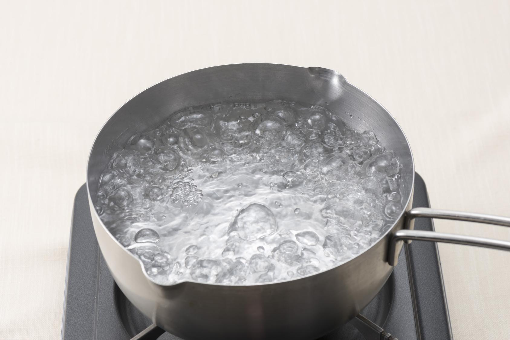 Waiting for water to boil in the pot.