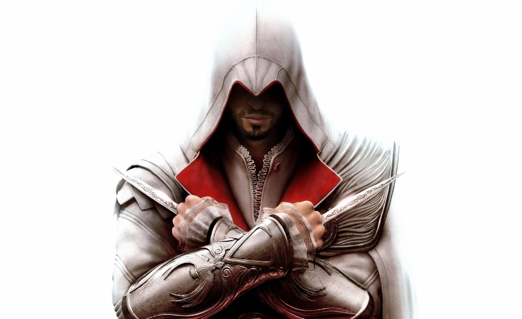 Who gives Ezio his outfit from Assassin's Creed Brotherhood?