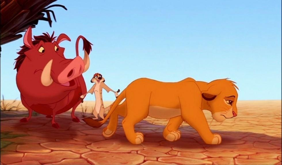 Around the end of the movie, what did Simba do when he was standing on Pride Rock?