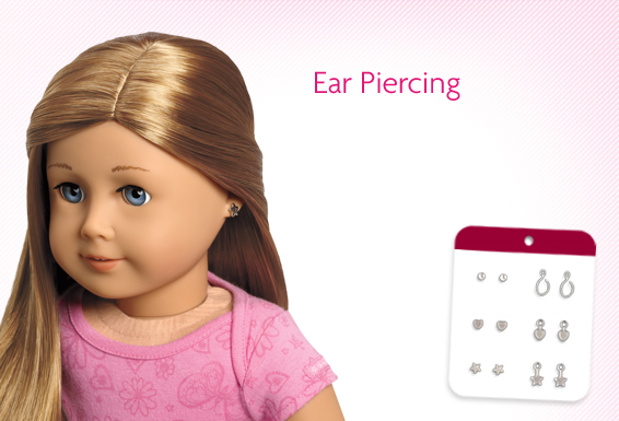 How much does it cost to get your American girl doll's ears pierced as of 2014 and in U.S.A locations,(mainland).