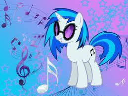 What is the name of the pony that plays the records?