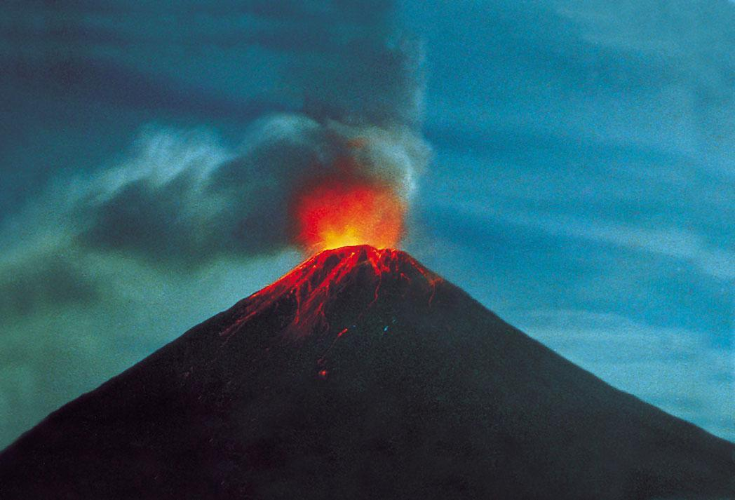 Volcanic eruptions can cary what to earths surface?