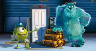 Where does the door lead that Mr.Waternoose throws Mike and Sulley through so that they can kidnap Boo?