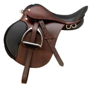 What part of the saddle does an English saddle lack?