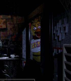 You check the lights to find out that Chica is right outside your door!
