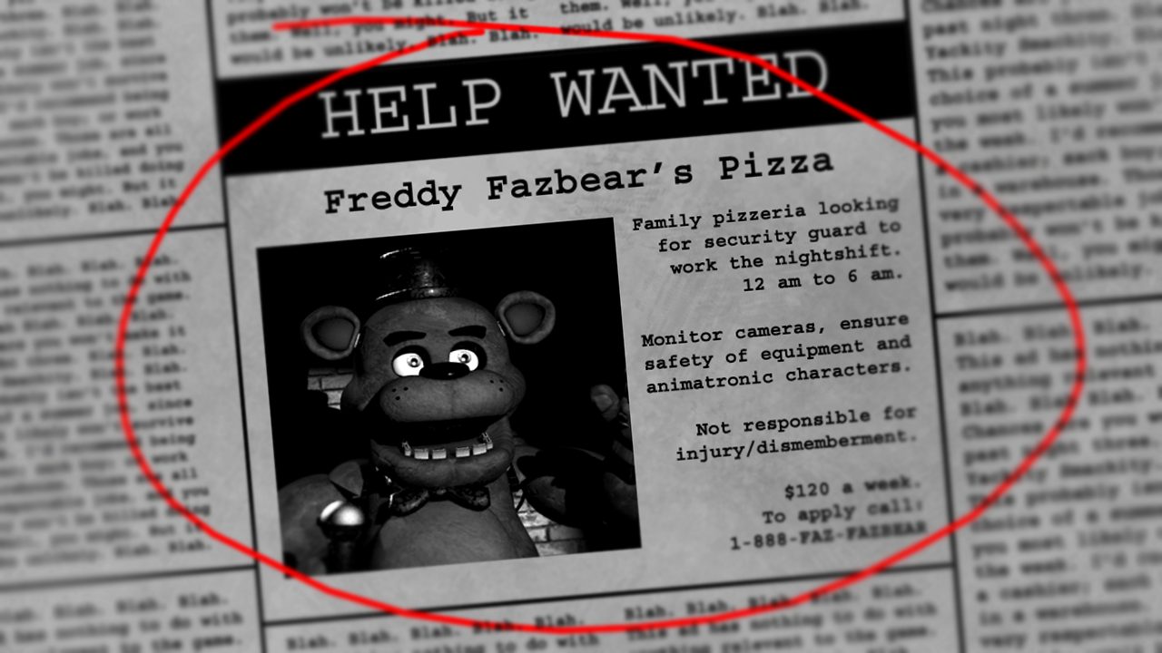 You read the newspaper and Freddy Fazbear's Pizza is looking for a security guard!