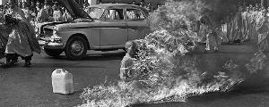 Why did the Buddhist priest Thich Quang Duc burn himself to death?