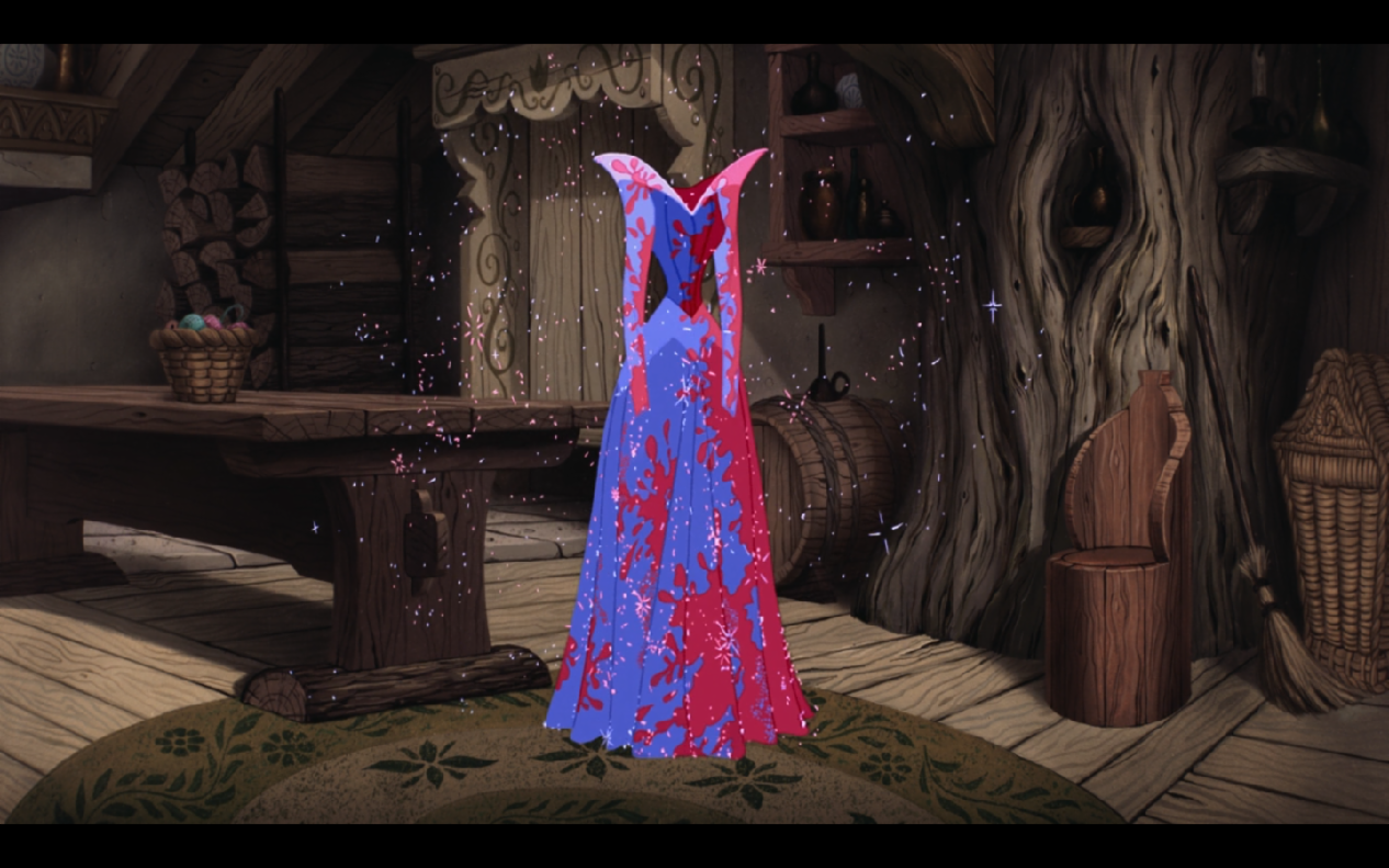 What was the original fabric color of Aurora's dress?