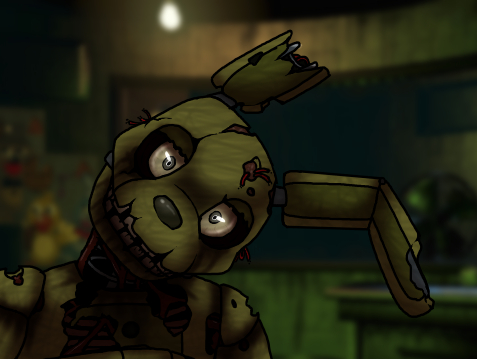 4:57 am You move away from the screen and immediately reboot the audio and ventilation. It finishes rebooting and the flashing stops but as you set down that tablet you jump at the sight of Springtrap staring straight at you from the window.