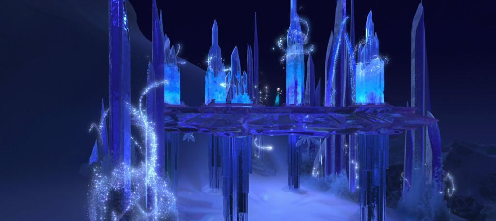 "During ""Let It Go"", when Queen Elsa was building her ice castle, and spun around to create her ceiling and chandelier, what color was the icy floor? Medium."