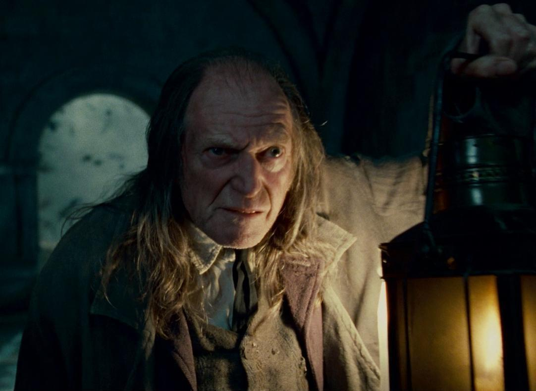What role does Filch play on the Hogwarts staff?