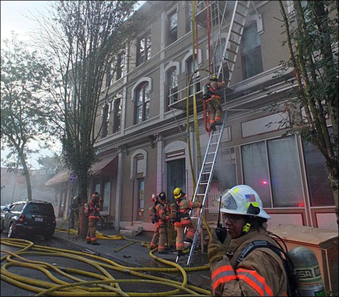 A three-alarm fire damaged a historic hotel in Portland. What is the name of the hotel?