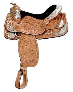 English saddles are held in place with a girth. What holds a Western saddle in place?