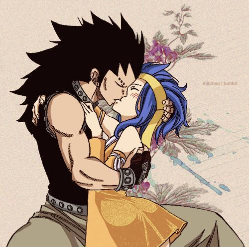 Your taking a walk in the park and you want to take a break. But just then Gajeel just comes up to you and kisses you! What do you do?