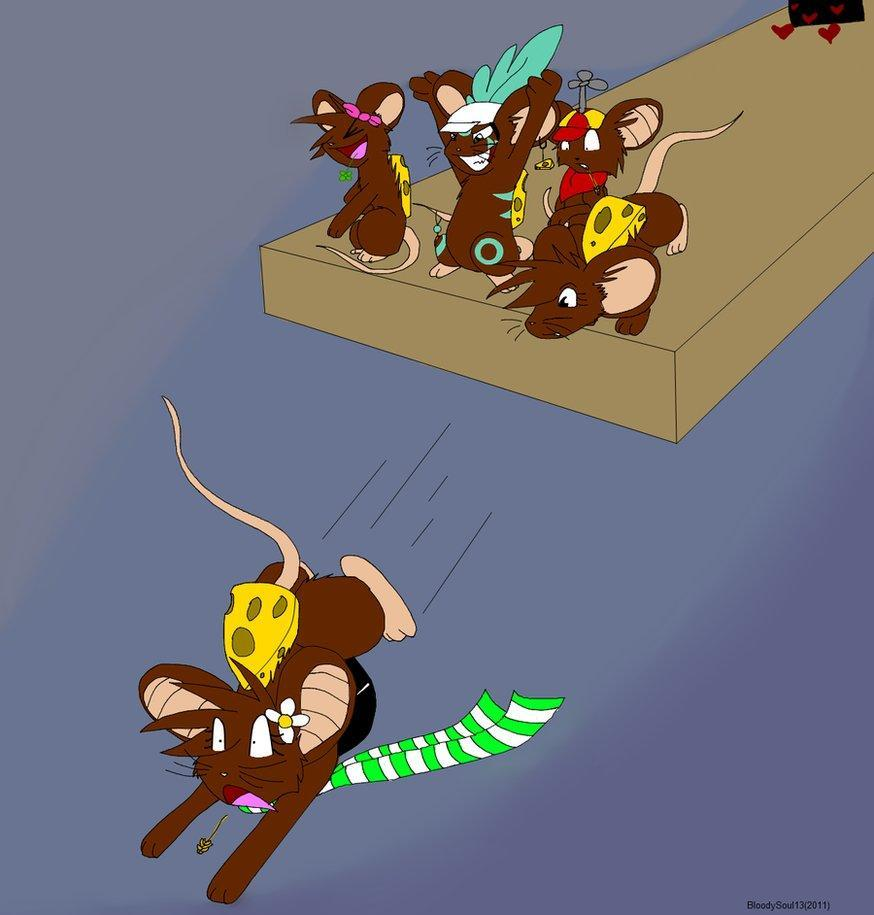 (More role play) Right when you are about to reach the cheese, you slip, and are falling!The magical mouse dude is helping a different group of mice, so it's all up to you! What are the two best things to do?