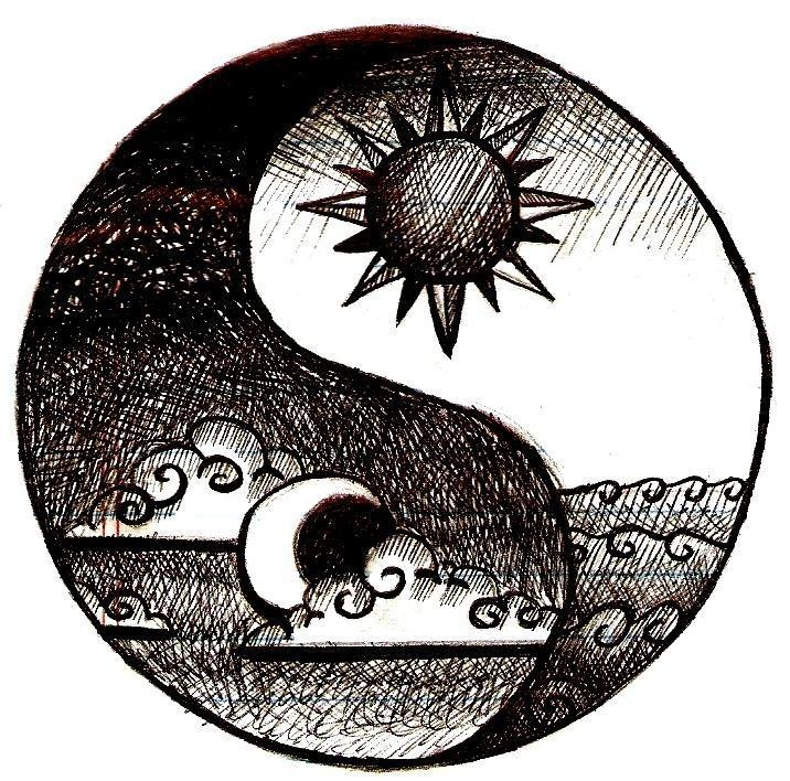 The Yin or the Yang?  The Yin  (shady side) is represented as the lazy, pessimistic side that is also caring. The Yang (sunny side) is represented as bright and ready to go!