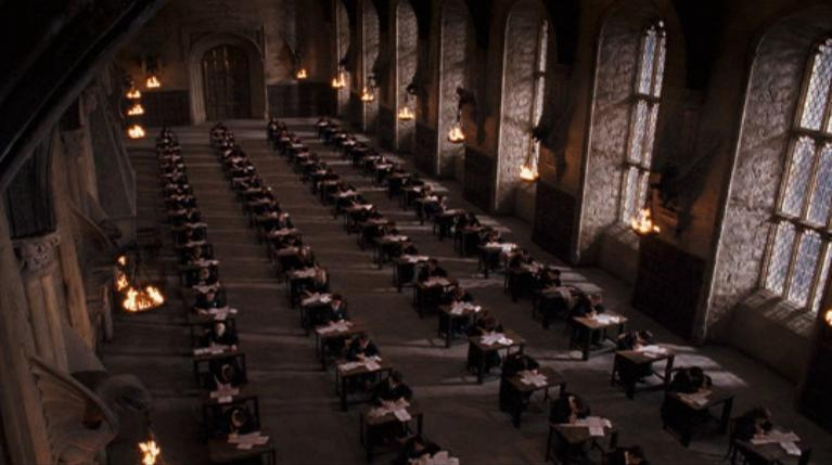 What two years do Hogwarts students take exams?
