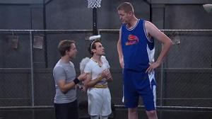 "In one of the shoulder angel sketches, Matt climbs a 7' 6"" man. What is his name?"